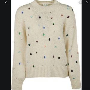 Kenzo Comfort Embellished Mock-Neck Sweater S
